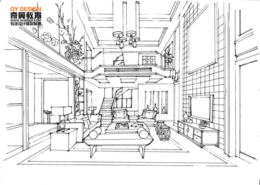 中式客厅线稿